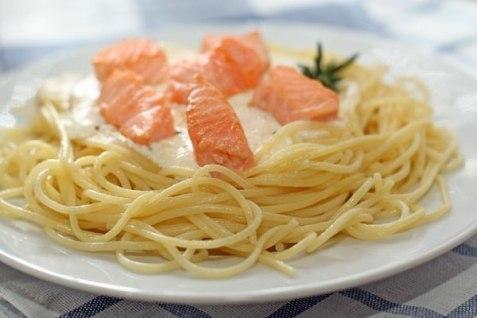 Спагетти с лососем