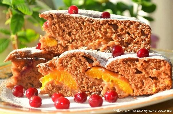 Шоколадно – медовый пирог с абрикосами